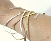 Gold and Sterling Silver Bangles, Set of 4 - Christian Bracelets - Hand Forged Hammered Nails - PIERCED
