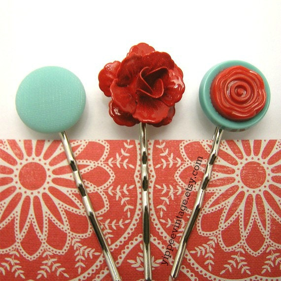 Cheerful Summer Garden ... red and aqua hairpins set by yippeevintage ... cssteam