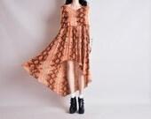 snakeskin gauze hippie hi low dress / layered / s / m / l