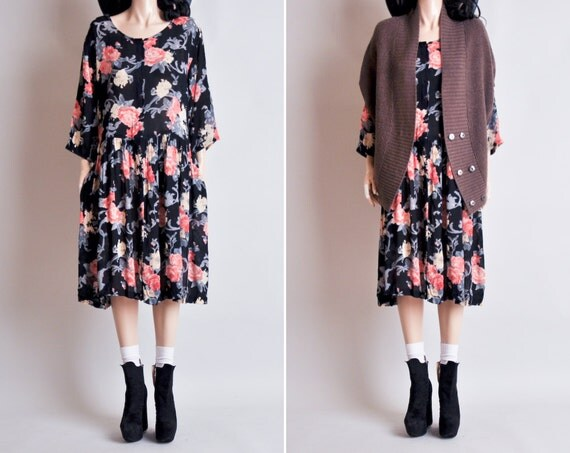 floral print grunge babydoll dress m