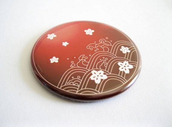Red Blossoms and Waves Japanese Inspired Pocket Mirror - UK Seller