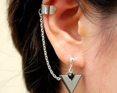 Single Chevron Hemalyke with Double Piercing or Earring Cuff , SA446