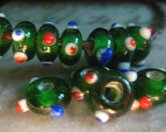 10mm Green, Red, Blue and White Spotted Glass Saucer Beads