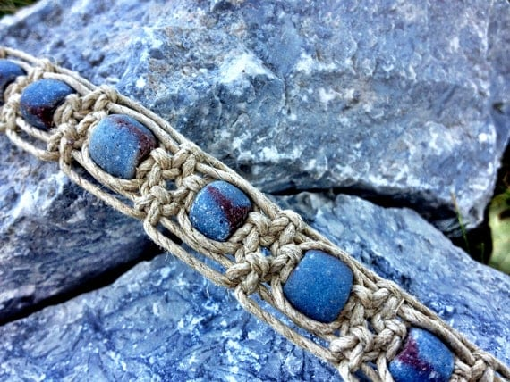 OOAK Unisex Macrame Hemp Anklet/Bracelet with Recycled Glass Trade Beads Hippie/Bohemian/Tribal Style