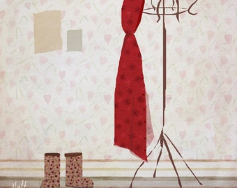 bottes -  Children Wall Art - digital Illustration - Nursery Art Print - Wall Decor - Poster  - Pink - Girl - Clothes - boots - coat rack
