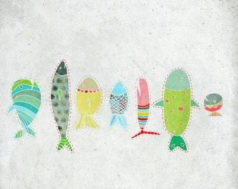 Avril - Art - children - Print of an original illustration - Color Print - Drawing - april fishes - Children room decor