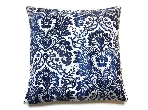 Two Navy Blue Sky Blue White Traditional Pillow Covers Decorative Toss Throw Accent Pillow Covers16 inch pair