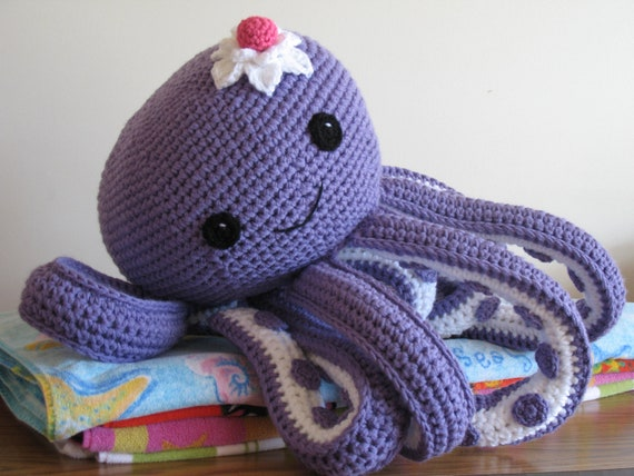 Crochet Patterns Octopus : Octopus Novelty Pillow PDF Pattern--FREE pattern for mini octopus ...
