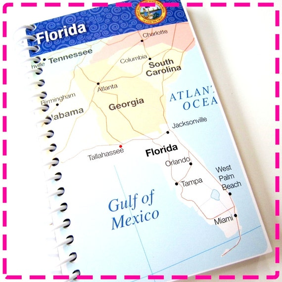 I LOVE FLORIDA - MAP Original Recycled Notebook / Upcycled Journal - Spiral Bound and Eco Friendly