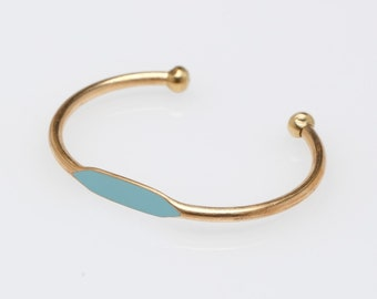 Sky Blue Hand Painted Brass ID Bangle Cuff Bracelet