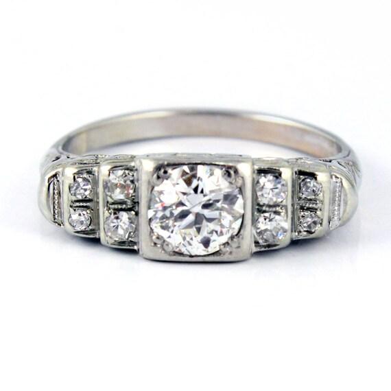 18K Art Deco Filigree European Cut Antique Diamond Engagement Ring