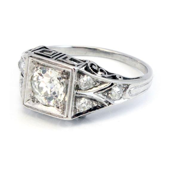 RESERVED Platinum Edwardian European Cut Antique Diamond Engagement Ring