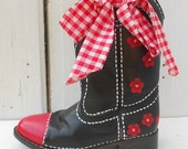 Black Boots 5.5 Hand Painted Farm Girl Pioneer Woman Glamping