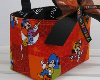 Halloween Trick or Treat Candy Basket Bucket - Made with Mickey Mouse/ Minnie Mouse Halloween Fabric