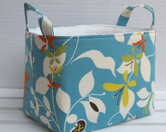 Fabric Storage Organizer Container Basket Bin - Turquoise Blue Emergence - Moda Chrysalis by Sanae