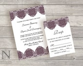 Lace Weddng Invitation with RSVP cards and envelopes