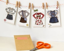 Clara Paper Doll Clothes, Dress-up Clothes - Single Outfit Cards, Set A
