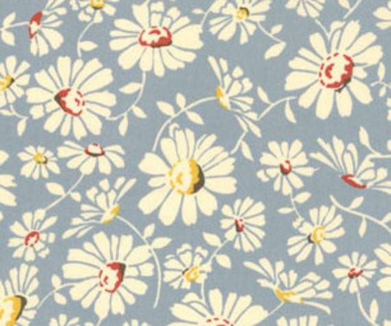 Wee Play by American Jane, blue daisy flowers  FQ