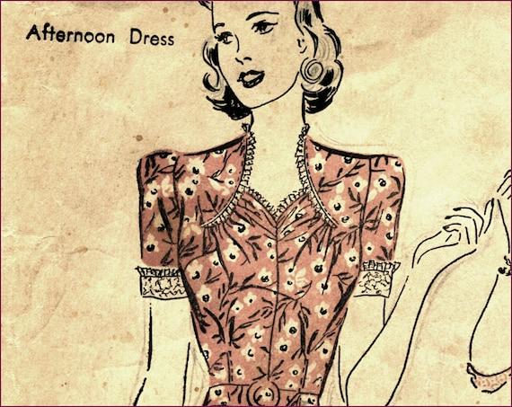 ELP 1940s 36 bust Gathered Neckline spring dress