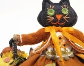 Black Cat Art Doll, Autumn, Hand Embroidered with Basket of Sunflowers and Pumpkin