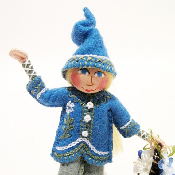 RESERVED FOR BARB Forget-Me-Not Gnome Art Doll, , Hand Embroidered