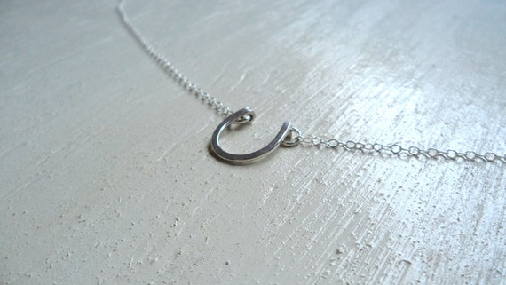 hand hammered sterling silver horseshoe necklace