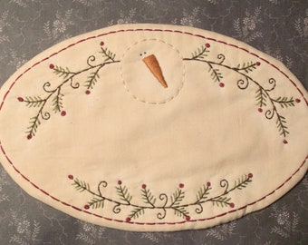 PATTERN For Primitive Stitchery Candle Mat Oval Snowman And Greenery