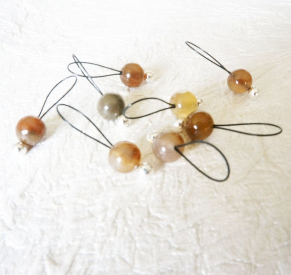 Snag Free Stitch Markers Medium Set of 8 -- Wooden Agate -- M24-- For up to size US 11 (8mm)