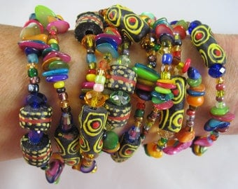 African Recycled Glass Necklace Bracelet 90 inch long one of a kind fair trade jewelry Sandoodles