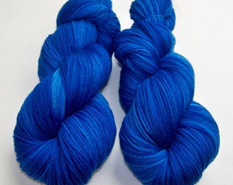 Hand Dyed Superwash Sock Fingering Yarn in Choice of Three Sock Bases -- Doctor Who: Tardis
