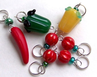 Hand Made Stitch Markers -- Salsa