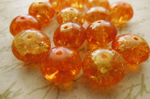 Vintage glass beads (10+) hyacinth yellow orange cracked crackle bright rondelles Czech 12 x 8mm  (10+)