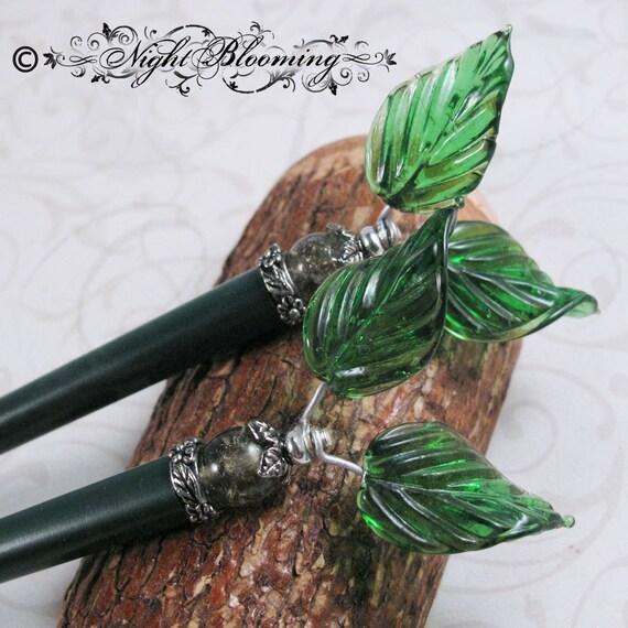 Arwen's  Elven Glass Leaf Hair Sticks