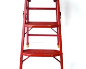 Vintage 1940s Wood Step Ladder with Original Red Paint and Label