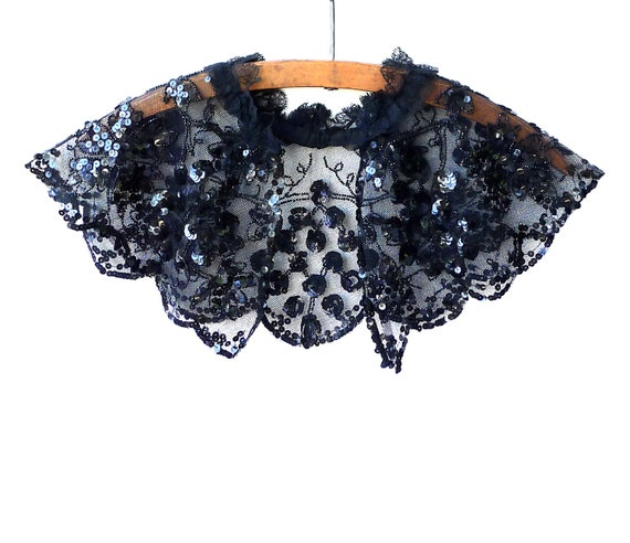 Black Sequined and Beaded Shoulder Capelet