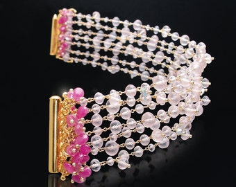 CUSTOM Made to Order - Multi-Strand Bracelet with Rose Quartz, Hot Pink Sapphires, and Rare Japanese Saltwater Keishi Pearls
