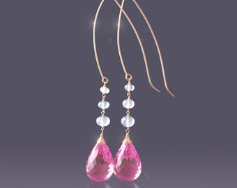 Custom Made to Order - 14k Pink Topaz Earrings with Ethiopian Opal