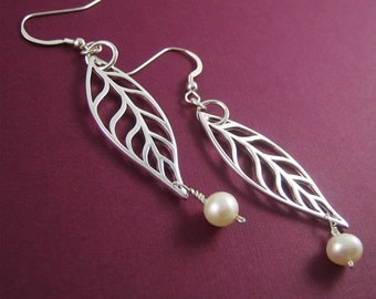 Silver Long Leaf Earrings Silver Charm White Pearl Nature Lovers Holiday Gift for Her Ready to Ship