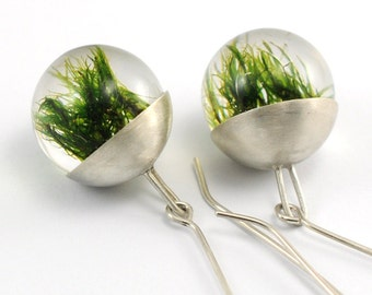 Green Moss Resin Earrings, Silver Cup Earrings, Moss Earrings, Ball Earrings, Resin Earrings