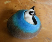 Cat Cave / Bed / House / Vessel - Hand Felted Wool - Turquoise Brown Bubble - Crisp Contemporary Design