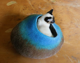 Cat Cave Bed House Vessel Furniture - Hand Felted Wool - Turquoise Brown Bubble - Crisp Contemporary Modern Minimalist Design READY TO SHIP