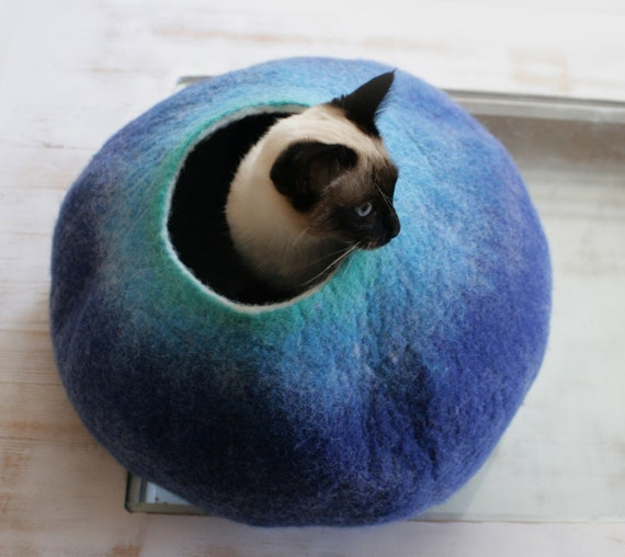 Cat Nap Cocoon / Cave / Bed / House / Sleep Vessel - Hand Felted Wool - Crisp Contemporary Design - READY TO SHIP  Teal to Blue Bubble
