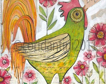 rooster, green, an archival limited edition print of an original watercolor by cori dantini, 8 x 10