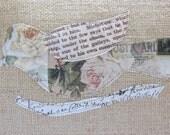 LES MISERABLES & Antique Postcard BIRD Burlap Pillow Cover