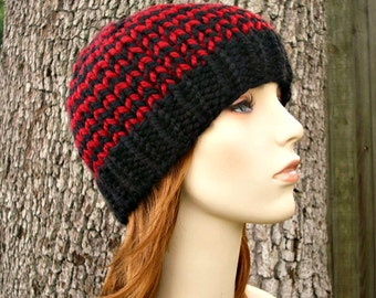 Knit Hat Womens Hat Mens Hat - Toque Beanie Hat in Black and Red Knit Hat - Womens Accessories Winter Hat