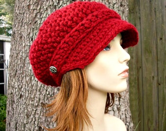 Cranberry Red Newsboy Hat Red Crochet Hat Red Womens Hat Red Slouchy Hat - Crochet Newsboy Hat Red Hat Red Beanie Womens Accessories