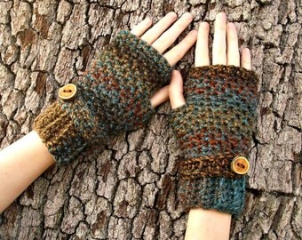 Crocheted Fingerless Gloves Mittens - Fingerless Gloves in Chocolate Peacock - Teal Gloves Brown Gloves Womens Accessories