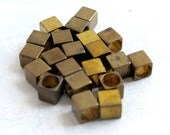Vintage Brass Square Cube Beads With Huge Holes (20X) (V428)