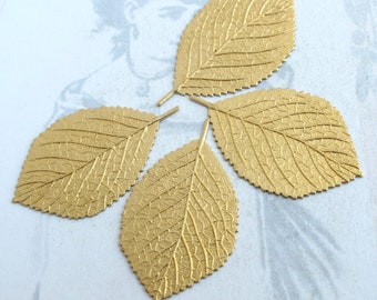 Brass Birch Leaf Pendents (4X) (M756)