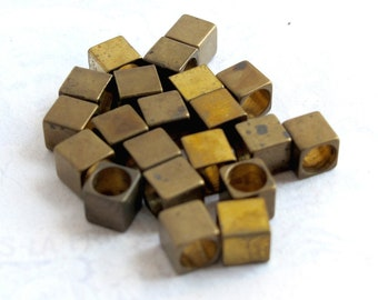 LAST Set - Vintage Brass Square Cube Beads With Huge Holes (20X) (V428)
